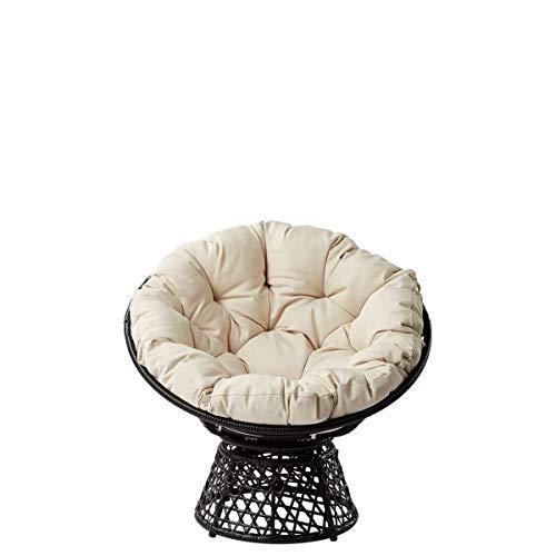 Honeypot - Acapulco - Garden Pod Chair with Cushion for Outdoor Indoor Garden Patio Balcony Porch - Black Swivel Rattan Chair