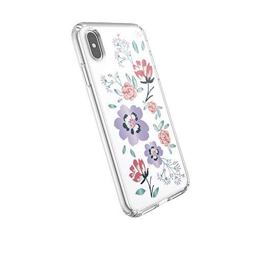 Speck Products Presidio beschermhoes voor iPhone XS (transparant), Eén maat, Luifel bloemenpatroon lavendel/transparant