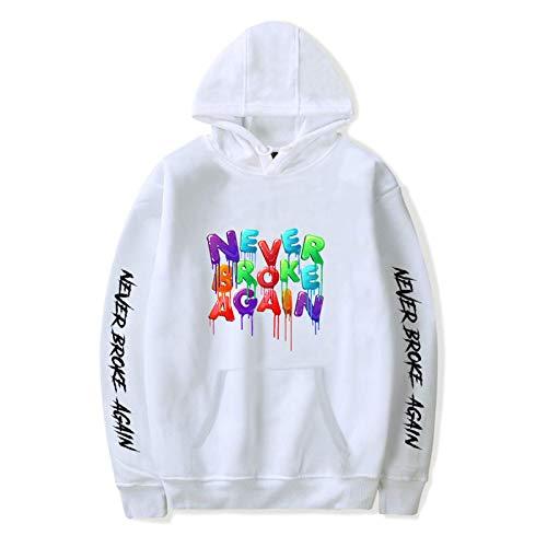 Cheerful D Never Broke Again Unisex Long Sleeve Hoodie Sweatshirt For Men Women Teen Boys Girls XL White