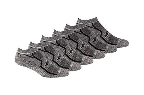 Saucony Men's Multi-Pack Bolt Performance Comfort Fit No-Show Socks, Grey Black (6 Pair), Shoe Size 8-12