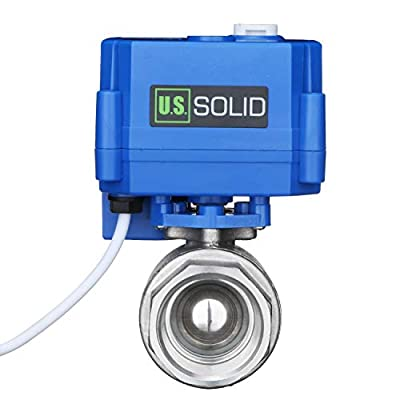 "Motorized Ball Valve- 1"" Stainless Steel Ball Valve with Manual Function, Full Port, 9-24V AC/DC and 2 Wire Auto Return Setup by U.S. Solid by U.S. Solid"