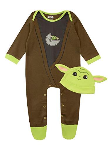 Star Wars Pijama Entera y Sombrero para Niños Bebés The Mandalorian Baby YodaMulticolor 9-12 Meses