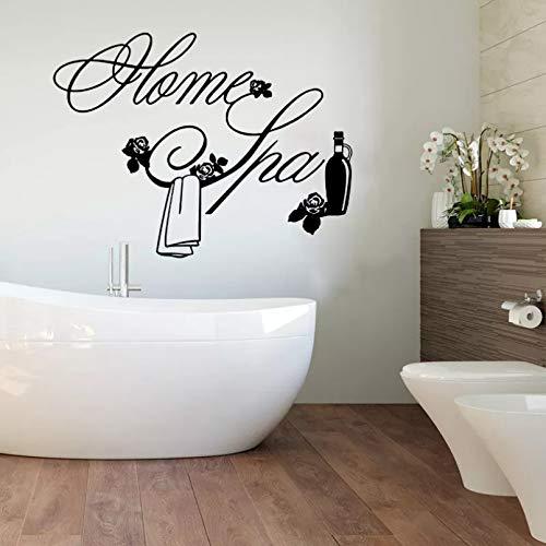 Home Spa Toalla de flores Etiqueta de la pared de vidrio Champú Home Spa Salón Ventana Etiqueta de la pared Baño Aseo Decoración de vinilo