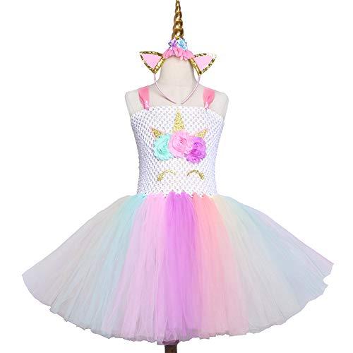 QWER Pastel Meisjes Eenhoorn Prinses Tutu Jurk Meisje Masquerade Verjaardag Feestjurk Kinderen Purim Halloween Cosplay Kostuum 2-12 jaar