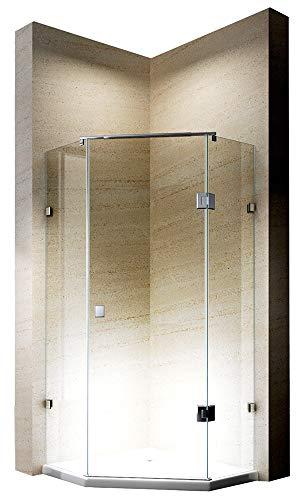 Vijfhoekige douchewand van echt glas NANO EX415-90 x 90 x 195 cm - met douchebak