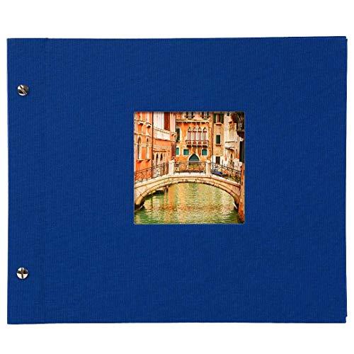 Goldbuch Schraubalbum mit Fensterausschnitt, Bella Vista, 30 x 25 cm, 40 weiße Seiten mit Pergamin-Trennblättern, Erweiterbar, Leinen, Blau, 26895