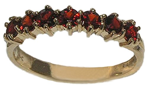 9ct Yellow Gold Ladies Deep Red Garnet Anniversary Eternity Ring - Size V 1/2