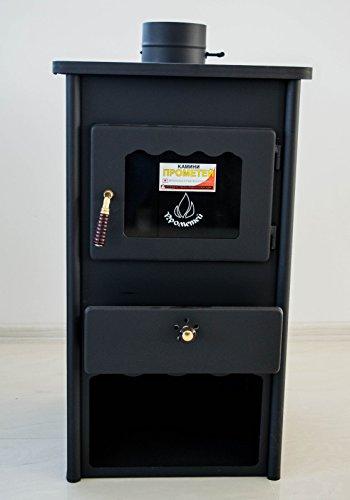 Estufa de leña Metal Board 2 de Prometey; de acero, combustible sólido, 8 kW