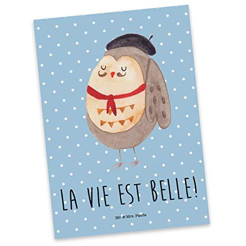 Mr. & Mrs. Panda Grußkarte, Ansichtskarte, Postkarte Eule Französisch mit Spruch - Farbe Blau Pastell