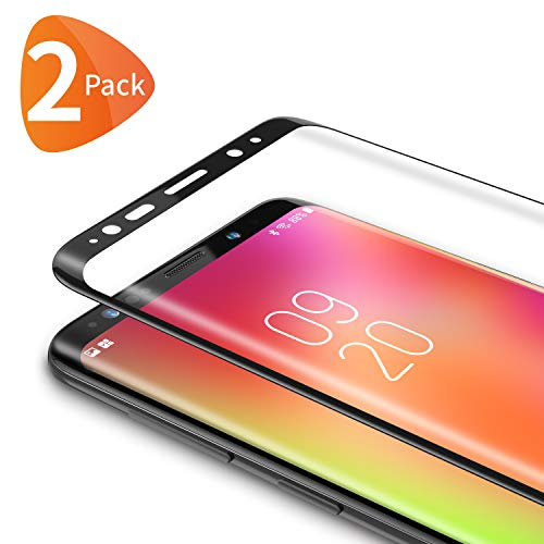 Bewahly Panzerglas Schutzfolie für Samsung Galaxy S8 Plus [2 Stück], 9H Festigkeit Panzerglasfolie Ultra Dünn HD Bildschirmschutzfolie Curved Full Cover Folie für Samsung Galaxy S8 Plus - Schwarz