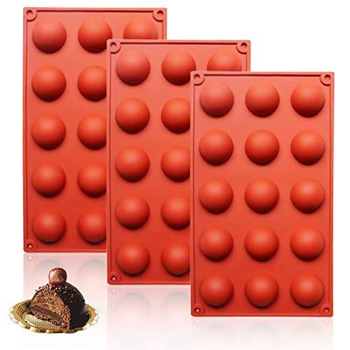 Stampi Silicone a semisfera da 15 cavità, 3 Pezzi Stampi da Forno per Fare Cioccolato, Torta, Gelatina, Mousse a Cupola