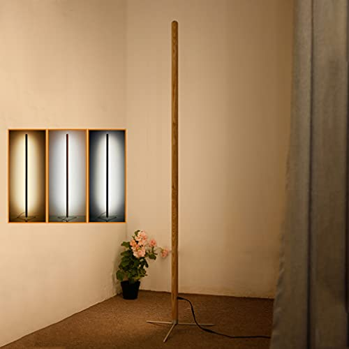 LANMOU Lámpara de Pie Regulable con Mando a Distancia, Madera Luz de Pie Salon LED 24W, Minimalista Moderna Lámpara de Suelo con Trípode, Decoración para Dormitorio Oficina Estudio Luz de Lectura
