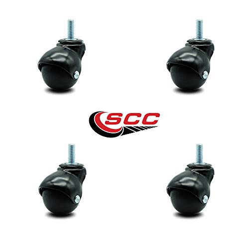 Service Caster Gloss Black Hooded 2 Inch Swivel Ball Casters with 3/8 Threaded Stems - 300 lbs. Total Capacity - Set of 4