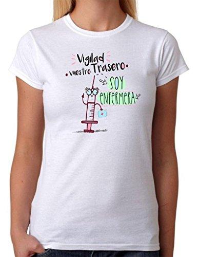 Camiseta Enfermera. Vigilad vuestro Trasero Soy Enfermera. Camiseta Divertida de Regalo (L)