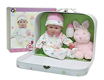 JC Toys - La Baby Travel Case Gift Set| Caucasian 11-inch Small Soft Body Baby Doll | Washable | Cute Outfit Bottle Pacifier & Plush Bunny | for Children 12 Months +