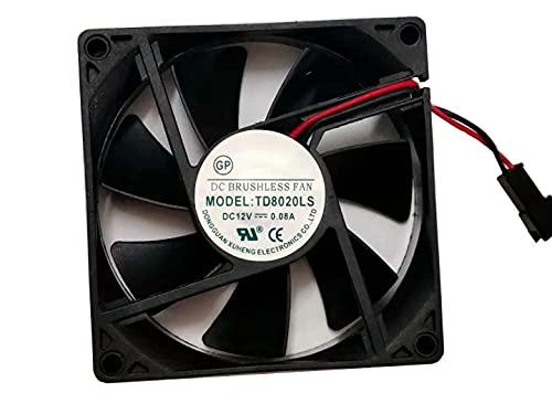 TD8020LS 2500RPM 12V 80mm Fan - 0.08A 8020MM 2-Wire Refrigerator Water Dispenser Silent Fan