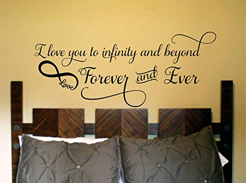 Best Design Amazing I Love You to Infinity and Beyond Bedroom Wall Decal Quote-Bedroom Home Decor-Vinyl Bedroom Wall Decal-Bedroom Wall Sticker-Master Bedroom Made in USA!
