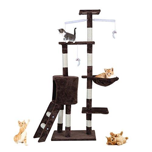 Homgrace Tiragraffi Multifunzionale per Gatti, Albero Tiragraffi Gioco Giocattolo Regalo per Animali Domestici, 67 x 54 x 143 cm (Marrone)
