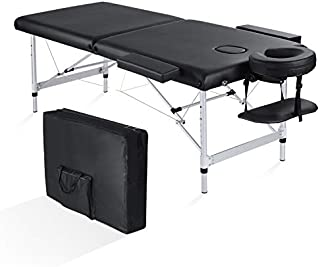 Maxkare Folding Massage Table Professional Portable 2 Fold Extra Wide 84'' Carrying Bag & Accessories Lash Bed Aluminum Frame for Home Use
