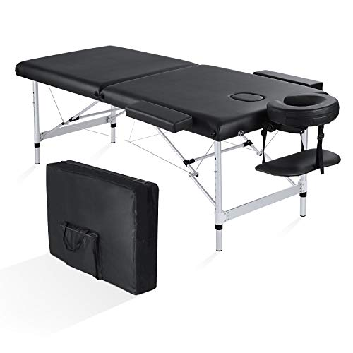 MaxKare Folding Massage Table Professional Portable Lash Bed Adjustable Aluminum Frame with 2 Fold Extra Wide 84