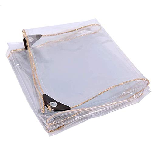 FOGUO Transparent Tarp Waterproof with Grommet 6x1m, Clear Tarp Heavy Duty, Tarpaulin Cover, Heavy Duty Waterproof, Reinforced Corners with Grommets, Clear Tarpaulin