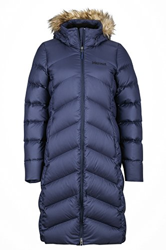 Marmot Damen Leichte Daunenjacke, 700 Fill-power, Warmer Parka, Wintermantel, Wasserabweisend, Winddicht Wm's Montreaux Coat, Midnight Navy, M, 78090