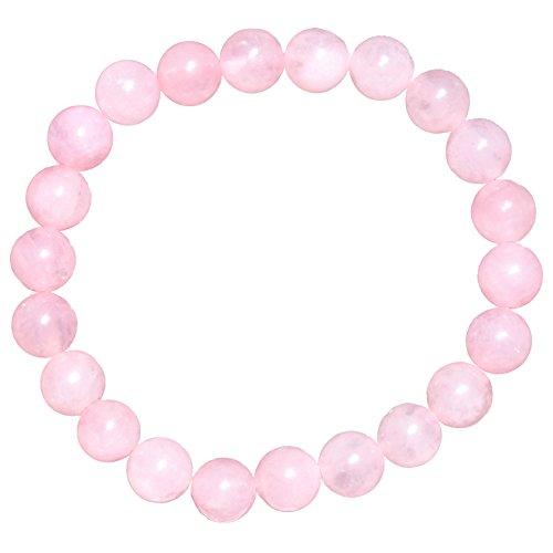 [1] Charged Premium 7 Natural Rose Quartz Crystal 8mm Stretchy Bracelet Healing Energy + Selenite Heart Charging Crystal [Reiki]
