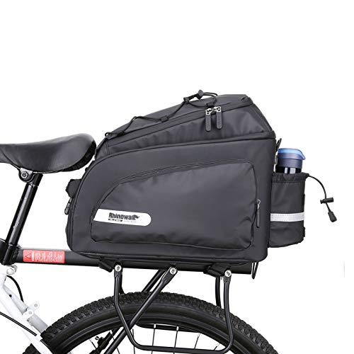 Rhinowalk Alforjas Bicicleta Impermeable, Bolsa Sillín Ciclismo Bolsa de Tronco de Cercanías Bolsa de Transporte para MTB Bicicleta de Carretera, con Fundas Antilluvia y Correra de Hombro (Negro)