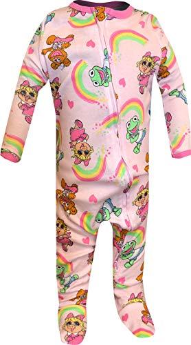 Komar Girls' Disney Junior Muppet Babies Miss Piggy Cotton Onesie Sleeper (0-3 Months) Pink