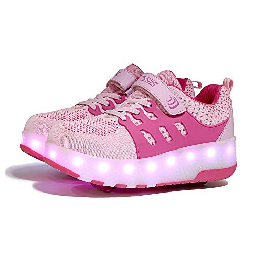 Ice-Beauty-ukzy Roller Skate Shoes, Boys Girls 7 Colors Changing LED Strips Roller Skate Shoes, with Double Wheel, Adjustable Buttons, Flashing Gymnastics Sneakers, for Kids Best Giftspink-38