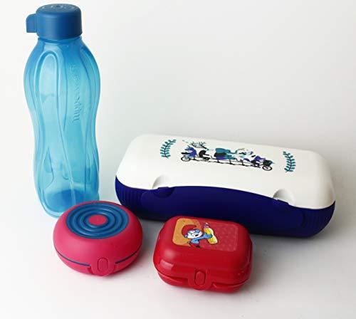 Lunchbox TUPPERWARE to Go Blau/Weiß Brotdose Box Behälter Twin Kühlschrank + Flexi + Twin Gr. 1 Schlümpfe rot + EcoEasy Trinkflasche to go 750ml Blau Schraubverschluss + Geschenk Kiwilöffel