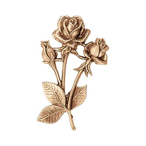 AmazinGrave - Dekorative Zweige und Messing Blumen für Bestattungs Dekoration - Ornament für Grabstein 10cm - Grabschmuck Bronze 3127