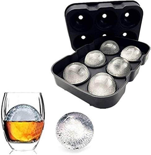 Silicone Ice Cube Trays Combo Round Ice Ball Spheres Ice Cube Tray Mold by Lucky Shop1234 (6 Round Ice Ball Black)