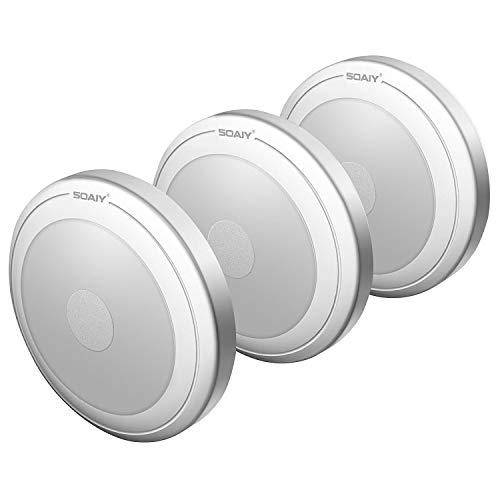 SOAIY [Versión Mejorada] 3PCS Luces Led a Pilas Blanco Cálido, Lámpara con Sensor al Tacto sin Cable, Luz Led Adhesiva con Iman para Armarios, Habitación del Niño, Cocina, Refrigerador