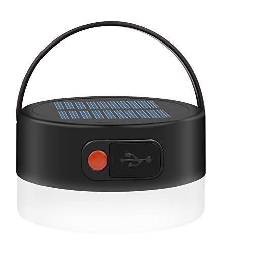 Beinhome Linterna de camping con luz solar, recargable, impermeable, 4 modos, lámpara de camping portátil LED para emergencias, camping, senderismo, pesca, viajes al aire libre