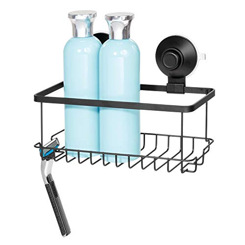 Price comparison product image iDesign Drill Bathroom,  Small Metal Basket with Push-Lock Suction Cups,  Hanging Storage for Shampoo and Soap with Hooks for Razors and Sponges,  Matte Black,  23.1 cm x 11.5 cm x 9.2 cm