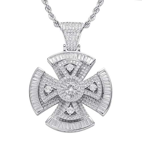 Dxnbp Iced Out Hip hop Rotating Bling Round-Cut CZ Cross Pendant Necklace 18K Gold Plated Cubic Zirconia Necklace for Women men Gift Box
