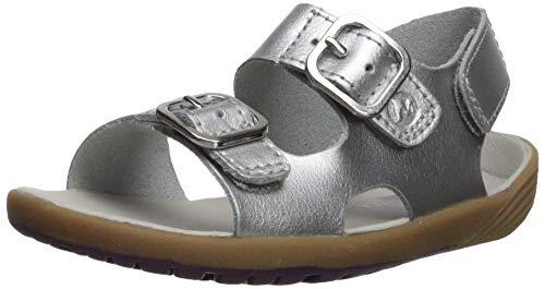 Merrell Girls' Bare Steps Sandal, Silver, 4 Medium US Toddler