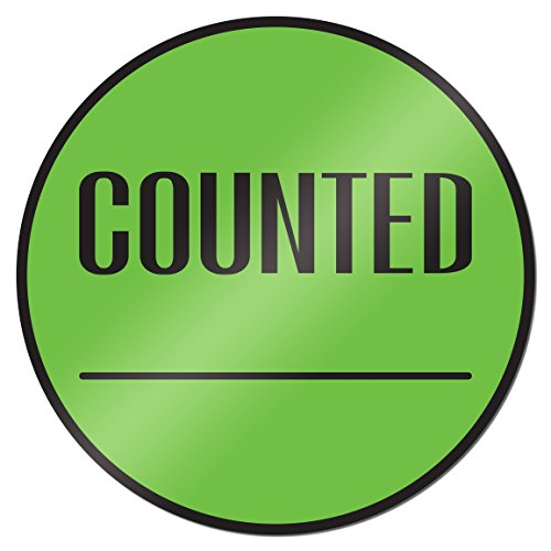 Counted 2 Inch Round Inventory Control Labels Stickers Green 1 Roll