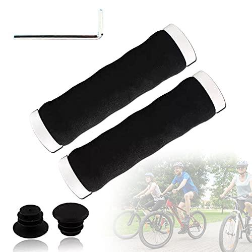 SXJXB Cómodas Empuñaduras de Esponja con Absorción de Impactos para Bicicleta, Empuñaduras para MTB, Manillar con Diseño Ergonómico de Bloqueo Doble, Manillar de Bicicleta,Blanco