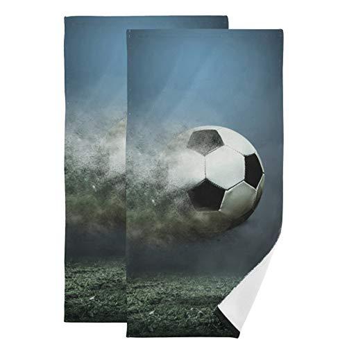 Juego de 2 Toallas de baño Juego de Hermosas Toallas para porterías de fútbol Juego de Toallas y toallitas absorbentes Suaves de Secado rápido Adecuado para baño Cocina Aseo Playa