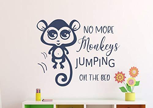 Autocollant mural « No More Singes Jumping on The Bed » pour chambre d'enfant Motif singe