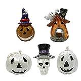 Adorno De Acuario Kit De Resina De Halloween Calabaza Ghost House Skull Statue Decor 5pcs Favor De Fiesta De Halloween