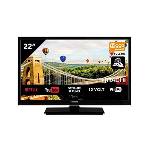 Hitachi 22HE4002 Android TV Smart WiFi 22 pulgadas 56 cm Full HD LED TV DVB-S2/C/T2 – 12 V y funcionamiento de 220 V – ideal también para camping