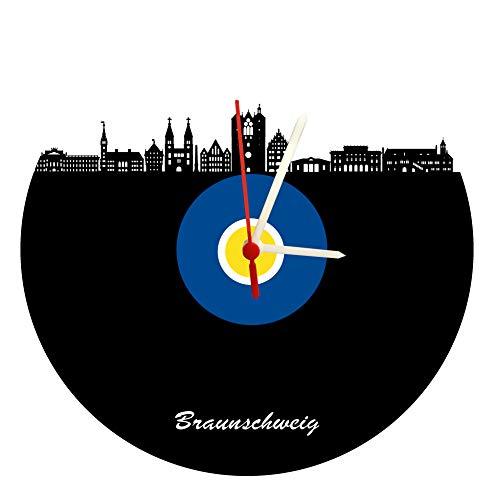 Orologio da parete marrone con skyline, blu e giallo, orologio da calcio di alta qualità in vetro acrilico con meccanismo al quarzo