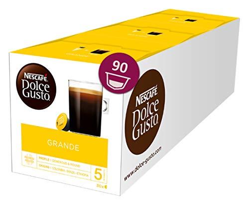 Nescafé Dolce Gusto Caffe Crema Grande, XXL-Vorratsbox, 90 Kaffeekapseln, 100{af71bcf5cd88dceb974801840a041a1a4bf51da06265aabffca942266868e96a} Arabica Bohnen, feinste Crema und kräftiges Aroma, Blitzschnelle Zubereitung, 3er Pack (3 x 30 Kapseln)