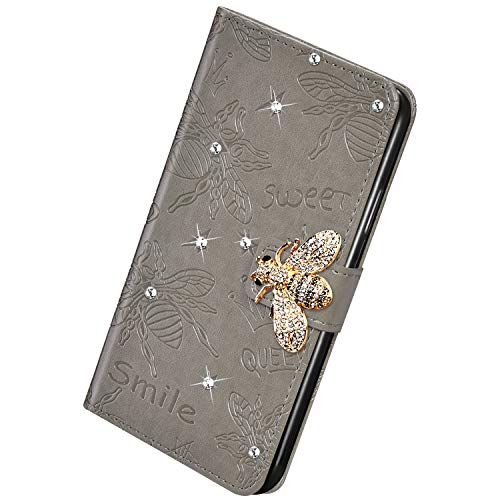 Herbests Kompatibel mit Huawei Mate 30 Pro Handyhülle Leder Klapphülle Glitzer 3D Bling Strass Diamant Biene Blumen Schutzhülle Flip Cover Brieftasche Leder Hülle mit Standfunktion,Grau