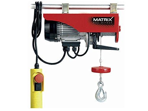 Matrix Seilhebezug elektrisch, Seilwinde, Flaschenzug 230V, 12 Meter, 250kg, Schutzklasse IP54, mit Umlenkrolle