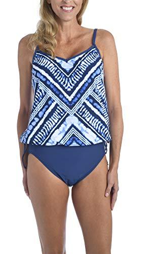 24th & Ocean Women's Side Tie Tankini Swimsuit Top, Indigo//Bay Breeze, XXL