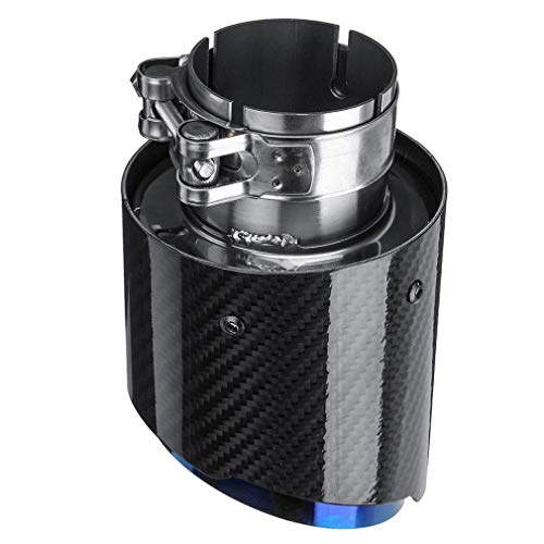 JEOSNDE La Fibra de Carbono de la Cola de Garganta Azul Recta del Borde 63-89mm de Escape Individual de Fibra de Carbono del Coche Tubo de Escape del Tubo de Escape extremidad del Final del